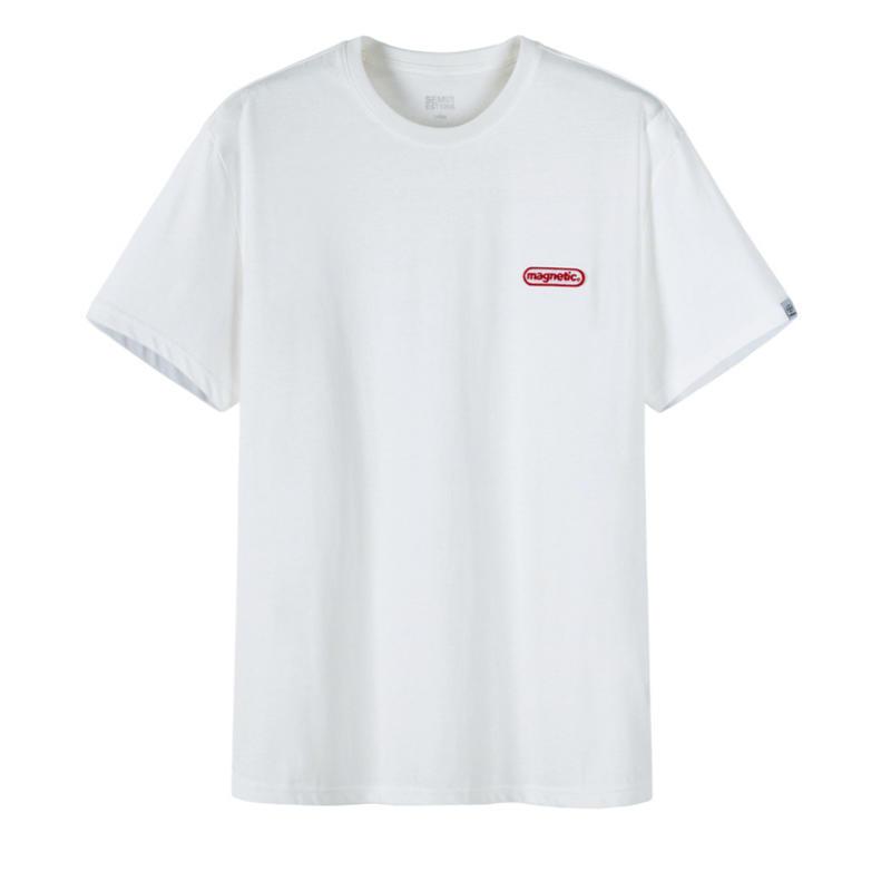 森马t恤男短袖2019夏季新款纯棉打底衫字母刺绣上衣圆领衣服潮流 白色
