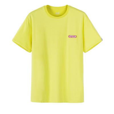 森马t恤男短袖2019夏季新款纯棉打底衫字母刺绣上衣圆领衣服潮流 黄色